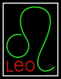 Red Leo Zodiac White Border Neon Sign