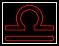 Red Libra White Border Neon Sign