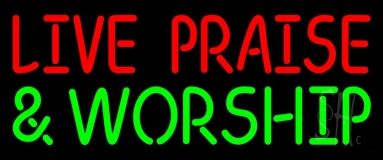 Red Live Praise Green And Worship Neon Sign