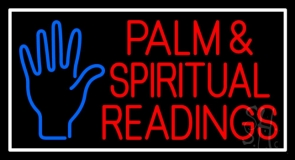Red Palm And Spiritual Readings White Border Neon Sign