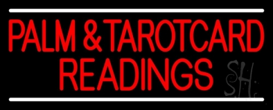 Red Palm And Tarot Card Readings White Line Neon Sign