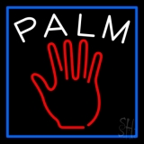 Red Palm Blue Border Neon Sign