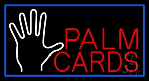 Red Palm Cards Blue Border Neon Sign