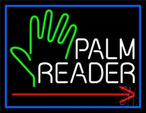 Red Palm Reader Arrow White Border Neon Sign