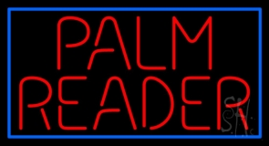 Red Palm Reader Block Blue Border Neon Sign