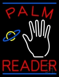 Red Palm Reader Blue Line Neon Sign