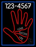 Red Palm With Phone Number Blue Border Neon Sign