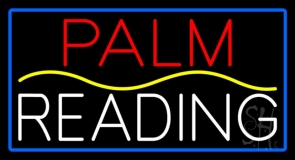 Red Palm Yellow Line White Reading Blue Border Neon Sign