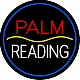 Red Palm Yellow Line White Reading Neon Sign
