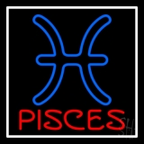 Red Pisces White Border Neon Sign