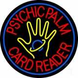 Red Psychic Palm Card Reader Blue Border Neon Sign