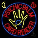 Red Psychic Palm Card Reader Blue Circle Neon Sign