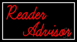 Red Reader Advisor With White Border Neon Sign