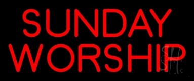 Red Sunday Worship LED Neon Sign