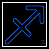 Sagittarius Zodiac Blue Border White Neon Sign