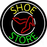Shoe Store With White Border Neon Sign
