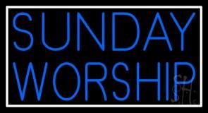 Sunday Worship With Border Neon Sign