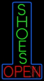 Vertical Green Shoes Open Neon Sign
