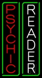Vertical Red Psychic White Reader Green Border Neon Sign