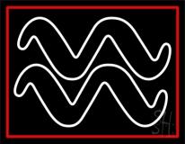 White Aquarius Logo Red Border Neon Sign