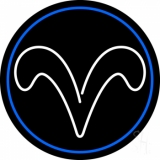 White Aries With Blue Circle Neon Sign