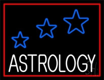 White Astrology Red Border LED Neon Sign