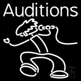 White Auditions With Logo Neon Sign