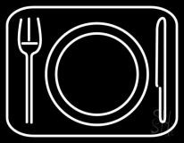 Plate With Fork and Spoon Luncheonette Neon Sign