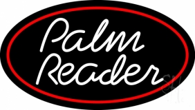 White Cursive Palm Reader Neon Sign