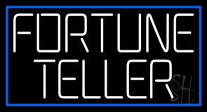 White Fortune Teller With Blue Border Neon Sign