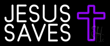 White Jesus Saves Purple  Cross Neon Sign