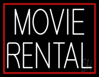 White Movie Rental Neon Sign