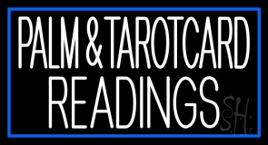 White Palm And Tarot Card Readings Blue Border Neon Sign