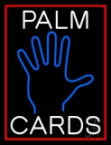 White Palm Cards Red Border Neon Sign
