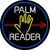 White Palm Reader Red Arrow Blue Border Neon Sign