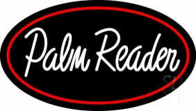 White Palm Reader Red Border Neon Sign