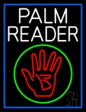 White Palm Reader With Logo Blue Border Neon Sign