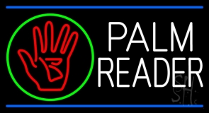 White Palm Reader With Logo Blue Line Neon Sign