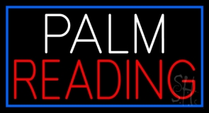 White Palm Red Reading Blue Border Neon Sign