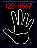White Palm With Phone Number Blue Border Neon Sign