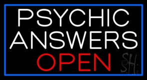 White Psychic Answers Red Open Blue Border Neon Sign