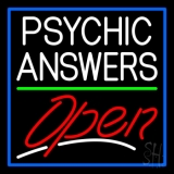 White Psychic Answers Red Open Green Line Blue Border Neon Sign