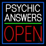 White Psychic Answers Red Open Green Line Neon Sign