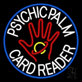 White Psychic Palm Card Reader Blue Circle Neon Sign