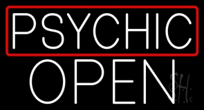 White Psychic Red Border Open Neon Sign