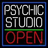 White Psychic Studio Red Open Green Line Neon Sign