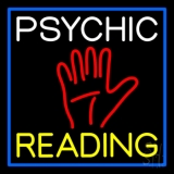 White Psychic Yellow Reading Block Palm Neon Sign