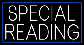 White Special Reading Blue Border Neon Sign