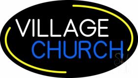 White Village Blue Church Neon Sign