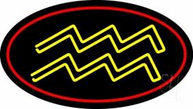 Yellow Aquarius Red Border Neon Sign